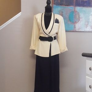 Vintage Studio 1/Yellow/ Blue/ Belted/ Maxi Dress